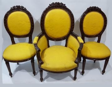 Trio de sillones luis xvi tapizados Cod 25067