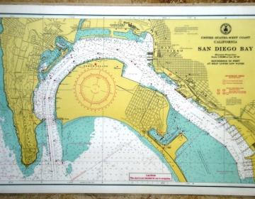 Antiguas Cartas de Navegación Importadas USA. Platificadas. Doble faz. 45x30 cm. 10 unidades
